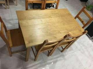 Wooden Dining Table with 6 solid Chairs