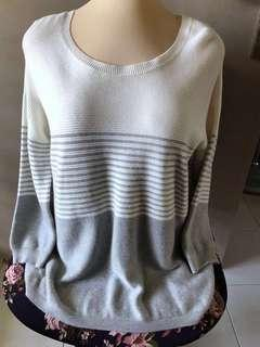 🚚 White Grey Pleated Sweater