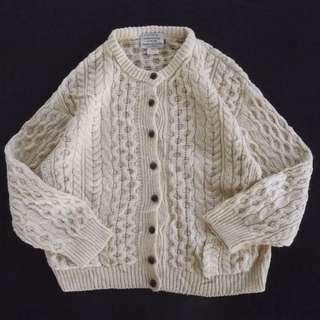 🚚 🇮🇪70s愛爾蘭手織漁夫毛衣 米色 麻花針織衫 開襟外套 男女皆可Vintage 歐美古著