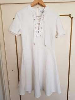 Closet London White Lace Up Dress Size 14