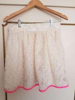 Lashes of London White Lace Skirt w/ Contrast Hem Sz 12