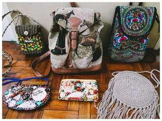 Bohemian and vintage bags, pouches for sale