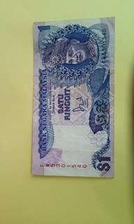 Satu Ringgit Malaysia Note. #B013