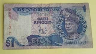 Satu Ringgit Malaysia Note #B014