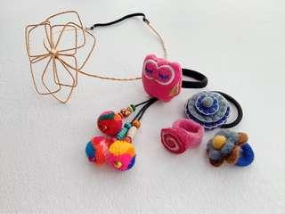 🚚 Hairband, hair ties + 2 felt rings