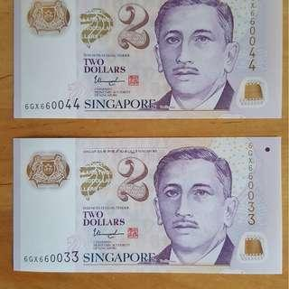 $2 noted with nice number