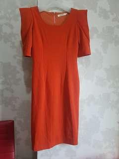 Dress orange size s muat M bahan stretch