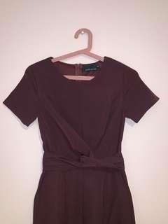 maroon jumpsuit with side pockets