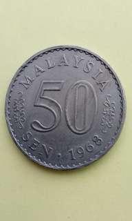 50sen Malaysia Coin 1968 # B015