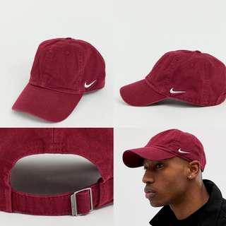 "INSTOCKS Maroon Nike ""Side Swoosh"" Baseball Cap"