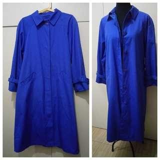 WA1053 La Vogue Royal Blue Large Trench Coat - see pics for Measurements and flaw