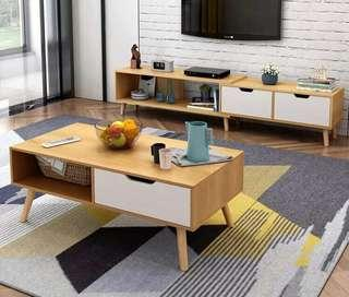 SET Tv Console and Center Table