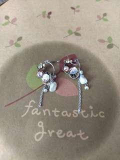 淡水珠水晶耳環