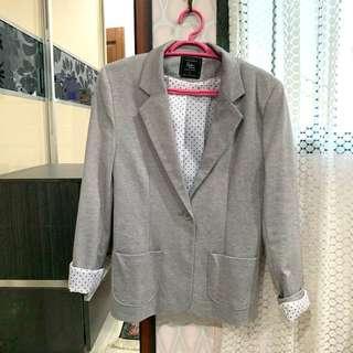 Grey Blazer with Polkadots
