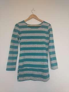 Green and grey striped top