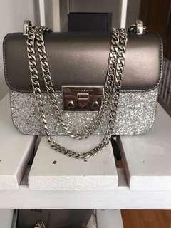 Charles and Keith Silver Glitter Push-Lock Handbag
