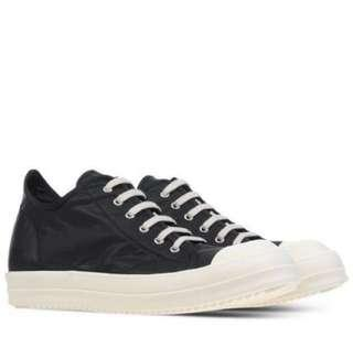 Rick Owens Drkshdw Leather Low Tops Trainers Ramones Fall/Winter 2015-16 Black