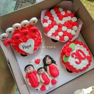 Cupcake Custom 2D/3D - isi 4cup - TANGERANG