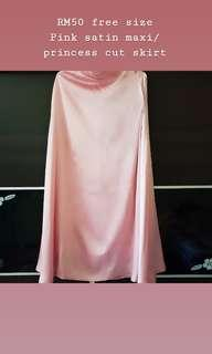 Pink satin maxi/princess cut skirt