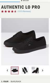 Vans Authentic Lo Pro Black/Black