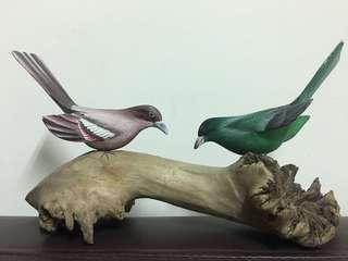 🚚 彩色鳥木雕擺飾