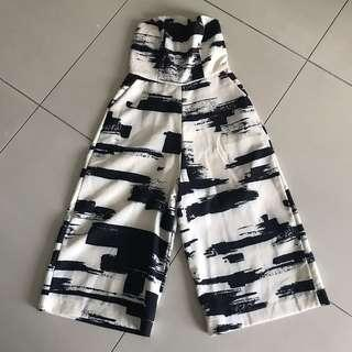Abstract print tube-culotte jumpsuit