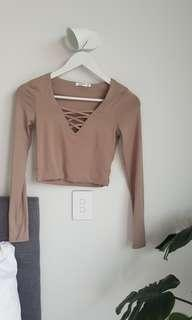 Tight long sleeve crop top