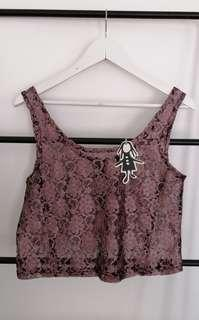 NEW living doll lace reversible SINGLET TOP pink purple 10