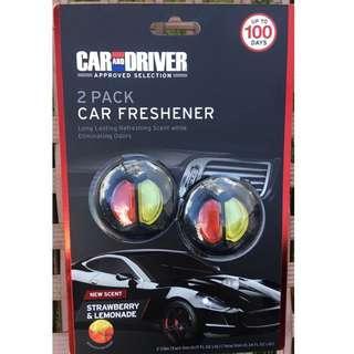 🚚 CAR & DRIVER 2-Pack Car Freshener Odor Neutralizing Strawberry & Lemonade 2 pack long last  Total 10ml Value pack! 125% more