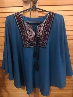 🚚 BOHEMIAN BATWING TOP TEAL TURQUOISE BLOUSE