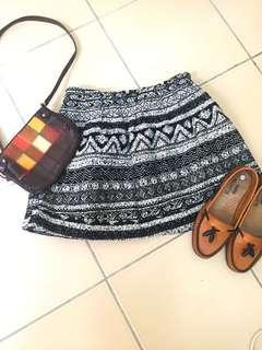 Aztec Suede-Textured Mini Skirt
