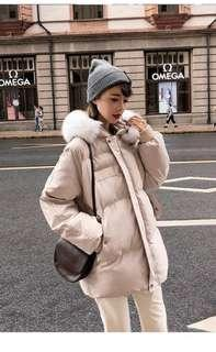 Beige Winter Jacket / Coat w Fur