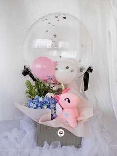 Pink Unicorn Hot Air Balloon Valentine's Day Gift Fresh Flowers Hydrangeas