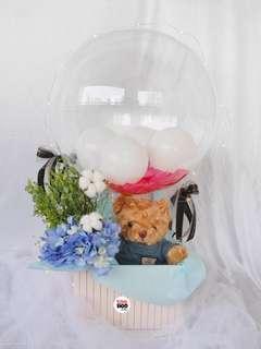Blue Top Teddy Bear Hot Air Balloon Valentine's Day Gift Fresh Flowers Hydrangeas