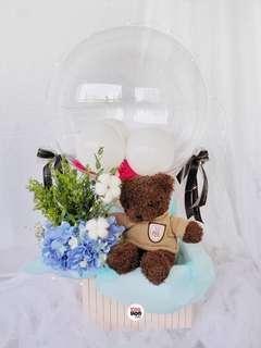 Brown Teddy Bear Hot Air Balloon Valentine's Day Gift Fresh Flowers Hydrangeas