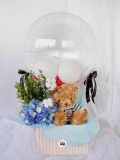 Blue Striped Teddy Bear 🧸 Hot Air Balloon Valentine's Day Gift Fresh Flowers Hydrangeas
