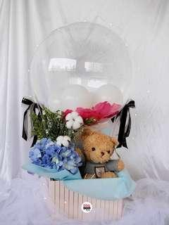 Grey Top Teddy Bear Hot Air Balloon Valentine's Day Gift Fresh Flowers Hydrangeas