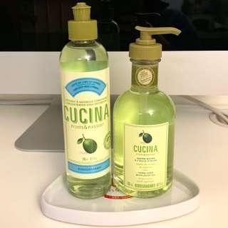 🇨🇦CUCINA Fruits & Passion Hand Soap with Olive Oil 200ml and Concentrated Dish Detergent 240ml (Lime zest and cypress) 送同品牌三角形瓦碟一隻