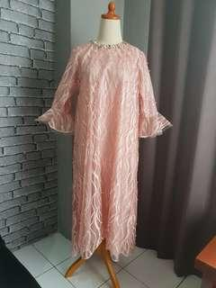 AMR the label peach pearl tulle kaftan dress