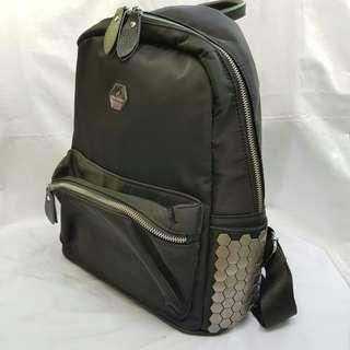 Black Nylon Backpack with Metal Detail