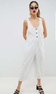 🚚 ASOS White Striped Jumpsuit