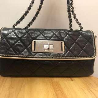 CHANEL leather bag Year2009  black leather 100%Authentic可陪驗 #MILAN01