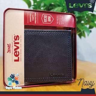 全新 Levi's Leather Mens' Wallet 真皮銀包, 深藍色
