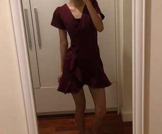 Slim waist sexy irregular V neck ruffled women midi dress
