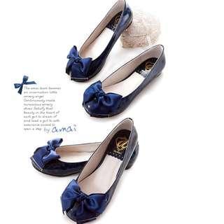 amai 深藍色蝴蝶結豹紋低跟鞋   全新品 未穿過   36號  23cm  全新品   需先匯款才出貨  運費另計60元