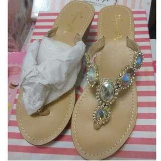 Grace gift 透徹水鑽寶石夾腳涼拖鞋 38號  24cm  全新品   需先匯款才出貨  運費另計60元