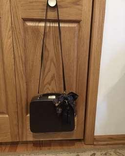 MARK CROSS rare chocolate brown suitcase grace box with chain strap and Hermes silk scarf and Kate spade tassel king charm 中古復古深啡咖啡棕色真皮行李箱包斜咩袋