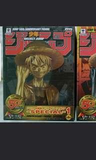 !!! 徵 !!! 少年 Jump 50 週年 金色 路飛 海賊王 One Piece 景品 公仔 周年