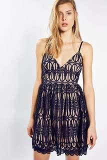 Topshop LOVE Navy on nude lace embroidered cutout Dolly vest dress