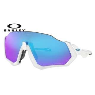 Authentic Oakley Flight Jacket Sunglasses White (Prizm sapphire)